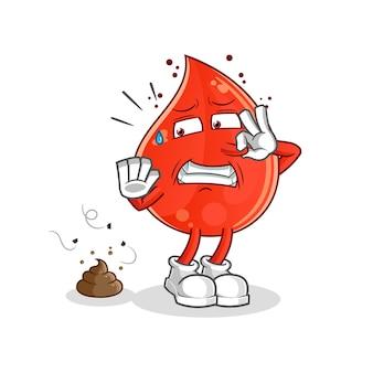 Blood drop with stinky waste illustration. cartoon mascot mascot