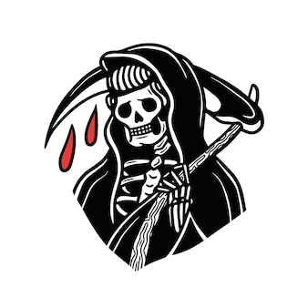 Blood drops grim reaper old school tattoo