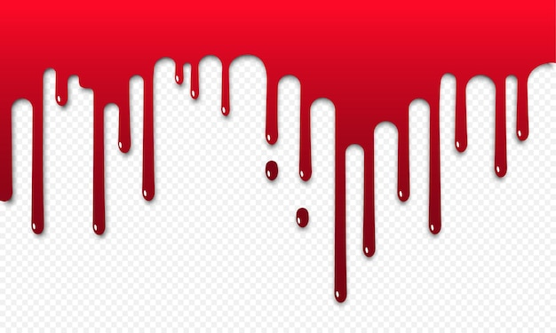 Blood flow or red paint dripping. halloween concept. bloody ink flow down icon. vector on isolated transparent background. eps 10.