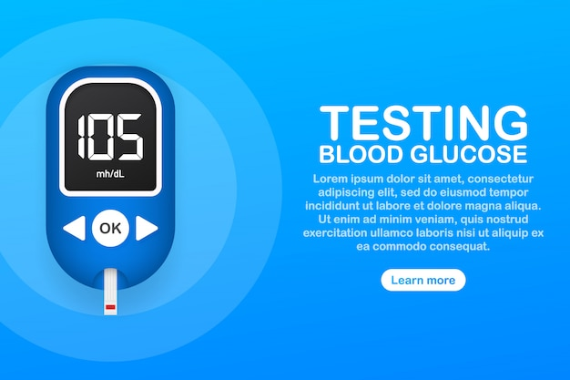 Blood glucose meter level test. diabetes glucometer. abstract concept graphic web banner element.