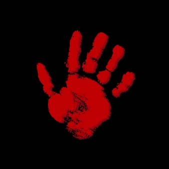 Blood hand print on black background red paint mark
