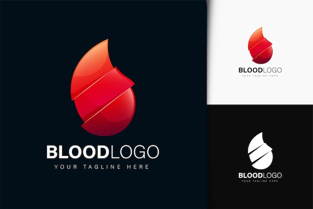 グラデーションの血のロゴデザイン Premiumベクター