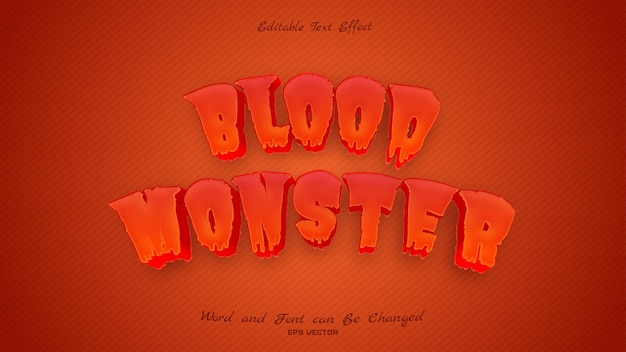 Blood monster text effect with red blood color