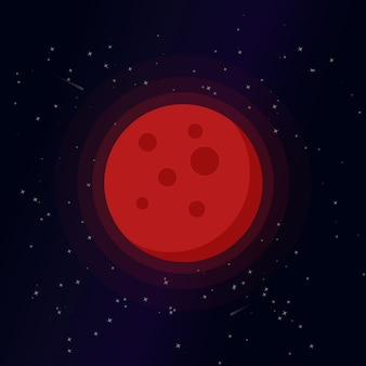 Blood moon cartoon illustration, cute full moon vector clip-art, isolated moon on starry night background.