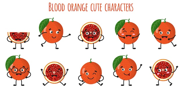 Blood orange citrus fruit cute funny cheerful characters with different poses and emotions. natural vitamin antioxidant detox food collection.   cartoon isolated illustration.