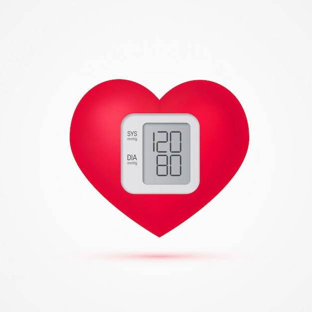 Blood pressure concept in realistic style, illustration. heart as a tonometer.