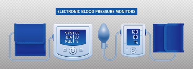 Blood pressure electronic device isolated on transparent surface