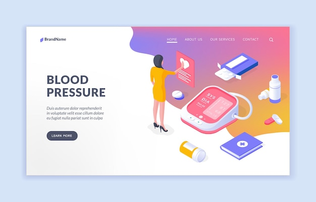 Blood pressure isometric vector website template