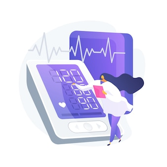 Blood pressure screening abstract concept vector illustration. pharmacy screening facility, blood pressure self-check, clinical examination, health care service, testing program abstract metaphor.