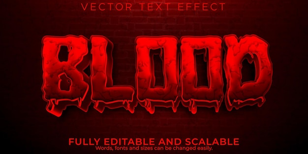 Кроваво-красный текстовый эффект, редактируемый стиль текста страшный и монстр