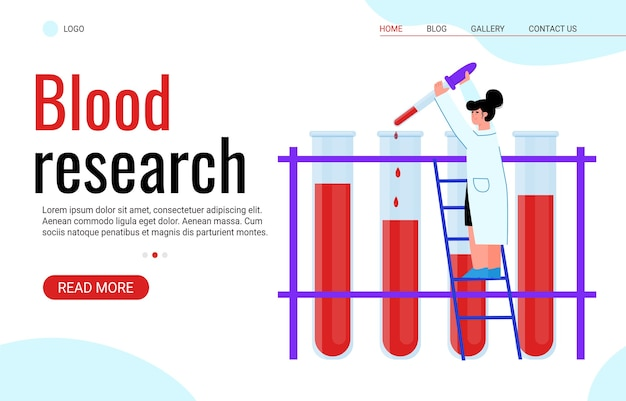 Blood research and hematology analysis site banner, cartoon