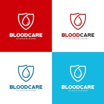 Вектор концепции дизайна логотипа blood shield, шаблон дизайна логотипа blood care с цветовыми вариациями