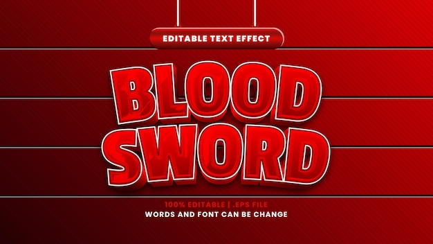 Blood sword editable text effect in modern 3d style