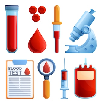 Blood test icons set, cartoon style
