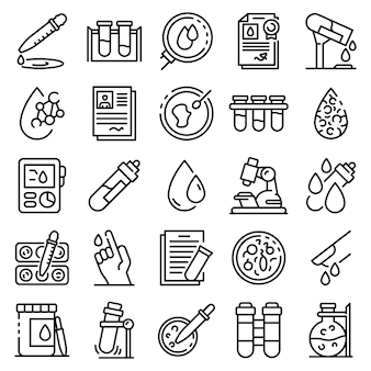 Blood test icons set, outline style