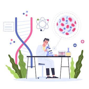 클리닉 개념의 혈액 검사. 테스트 용 의료 장비. 혈액 실험실 검사를하는 의사. 의료 연구 개념. 임상 테스트 및 분석을하는 과학자. 스타일 일러스트