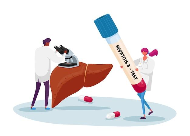 B 형 간염에 대한 혈액 검사. 현미경으로 보는 의사, 간호사 캐릭터가 생명의 피가 담긴 거대한 테스트 튜브를 들고 있습니다. 의료 보건, 기부 연구소의 수혈 자선 단체. 만화 사람들