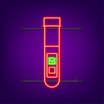 Blood test result in flat style. chemical laboratory research. neon icon. vector illustration.