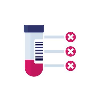 Результаты анализа крови, значок вектора образца крови на белом