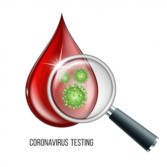 Blood testing concept with blood drop and virus disease cells