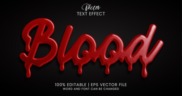 Blood text, editable text effect style