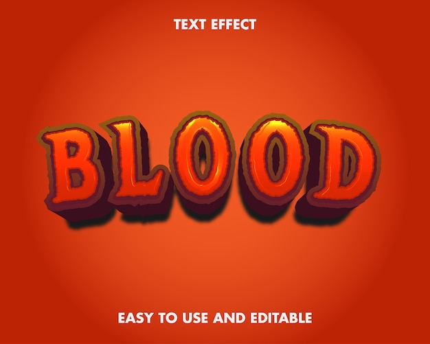 Blood text effect. editable font style.