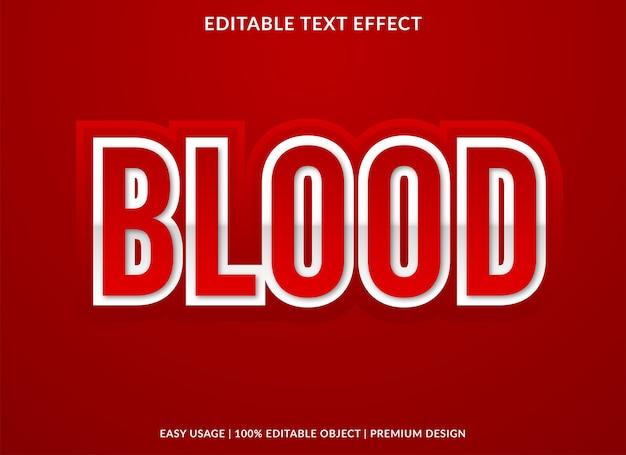 Blood text effect template design premium style Premium Vector