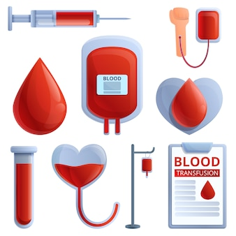 Blood transfusion icons set, cartoon style