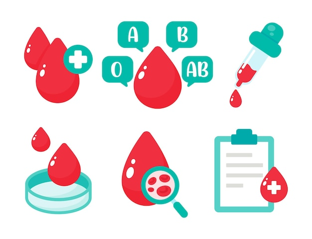 Blood vector that indicates blood type. the concept of a blood test to diagnose a serious disease.