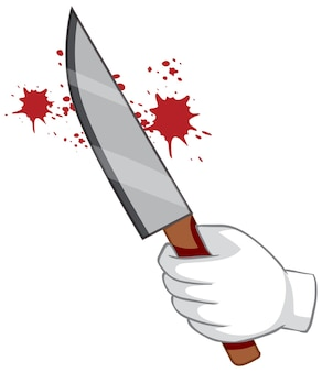 Кровавый нож с рукой на белом фоне