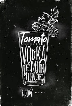 Bloody mary cocktail with lettering on chalkboard style