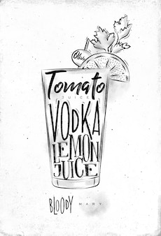 Bloody mary cocktail with lettering