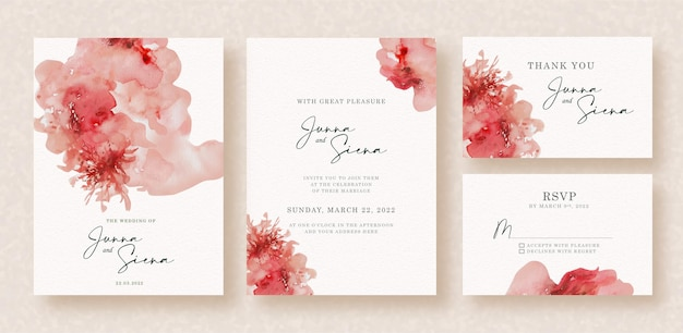 Bloody red splash abstract watercolor on wedding invitation