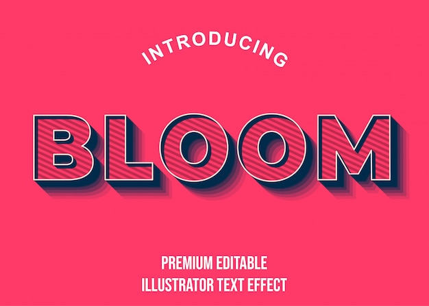 Bloom - стиль шрифта 3d pink blue text effect