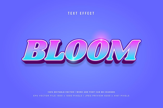 Bloom 3d text effect on blue background