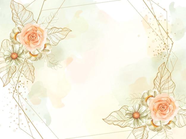 스플래시 수채화 배경으로 꽃과 잎 벡터