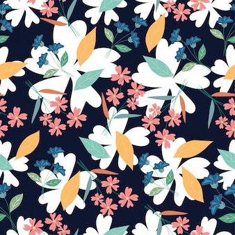 Bloom flower seamless pattern