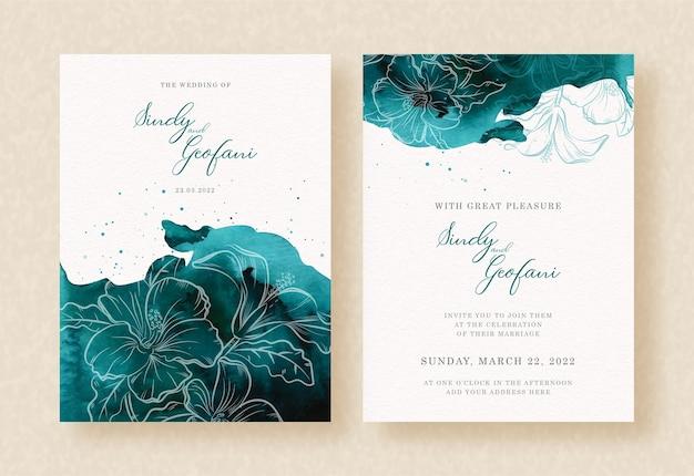 Bloom flower shapes on splash dark tosca wedding invitation design