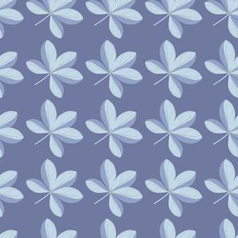 青い色の落書きシェフラーの花の飾りと花の自然のシームレスなパターン