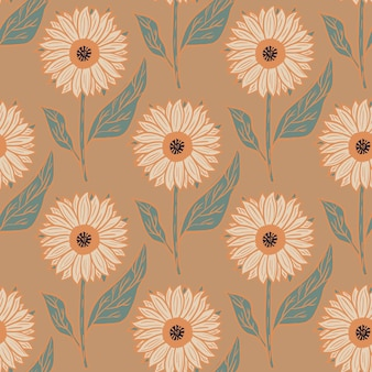 Bloom nature seamless pattern with cartoon sunflowers ornament