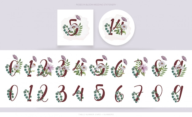Bloom numbers with watercolor flowers