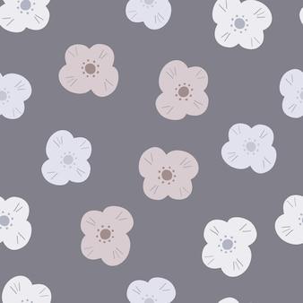 落書きランダムな白っぽいデイジーの花の形をしたスクラップ ブックのシームレスなパターンを咲かせます。