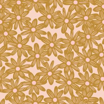 少しランダムなベージュのデイジーの花の飾りとシームレスなパターンを咲かせます。ピンクの光の背景。紙や布のテクスチャを包むためのグラフィックデザイン。ベクトルイラスト。