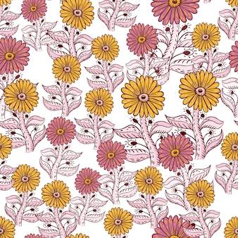 ピンクと黄色のヒマワリの要素でシームレスなパターンを咲かせます。孤立した背景。輪郭のあるプリント。紙や布のテクスチャを包むためのグラフィックデザイン。ベクトルイラスト。