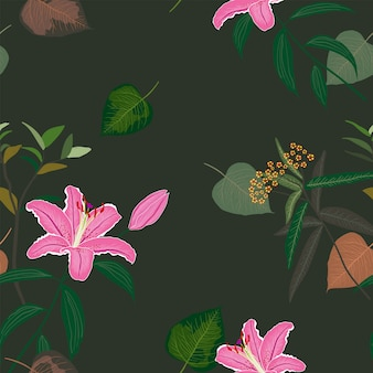 Blooming beautiful sweet pink lily seamless pattern,exotic tropical leaves on dark summer night