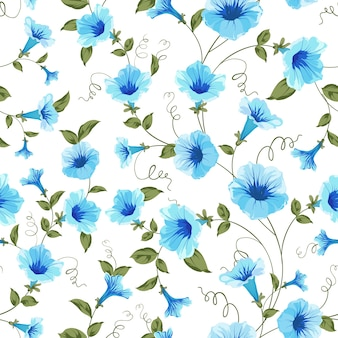 Blooming bindweed seamless pattern