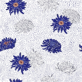 Blooming blue japanese chrysanthemum flowers hand drawn polka dots line brush seamless pattern illustration.