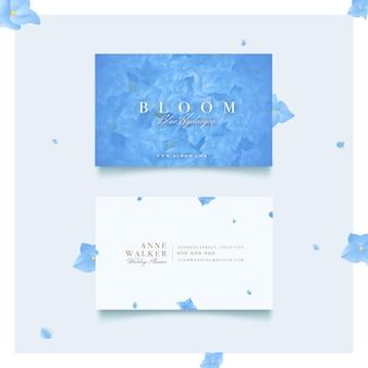 咲く青い天然モチーフの名刺