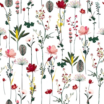 Blooming botanical flowers  soft and gentle seamless pattern on vector repeat design