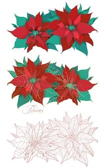 エレガントな装飾スタイルのポインセチアクリスマス植物の咲く枝